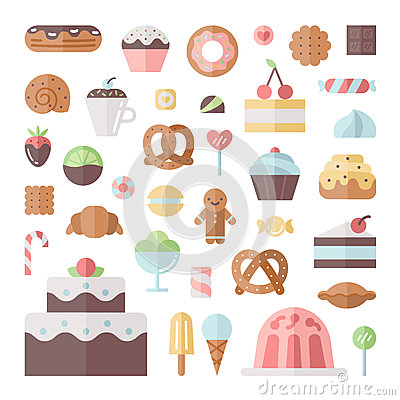 Free Sweets And Pastries Flat Icon Big Square Vector Set. Stock Images - 91616224