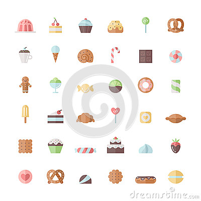 Free Sweets And Pastries Flat Icon Vector Set. Stock Photography - 91616092