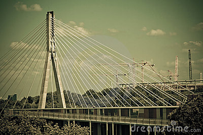 Swietokrzyski bridge on Vistula river in Warsaw.