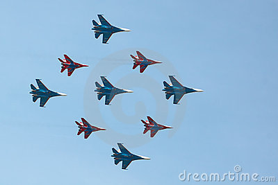 Swifts (Strizhi) and Russian Knights, bottom view Editorial Stock Photo