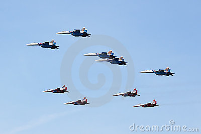Swifts (Strizhi) and Russian Knights, side view Editorial Stock Photo