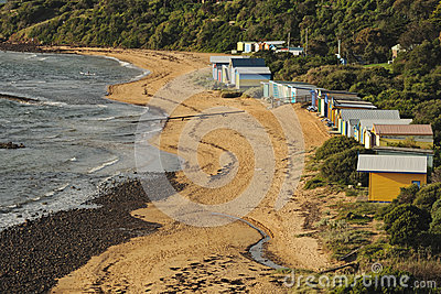 Swim cabins on beach