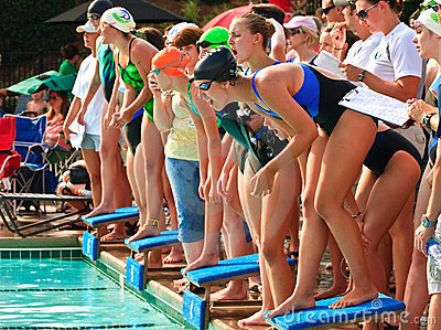 Swim Meet Competition Teen Girls Editorial Image