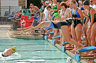 Swim Meet Competition Teen Girls Editorial Stock Image