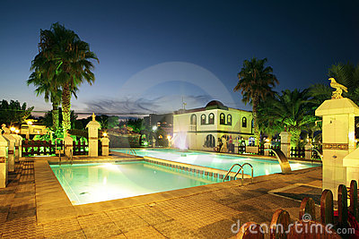 Swiming pool at night