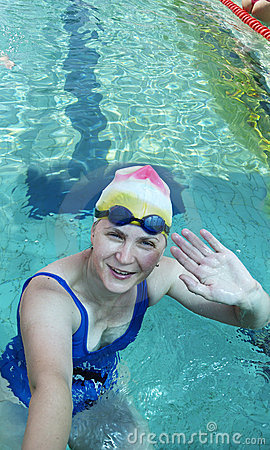 Swimmer making salutation gesture