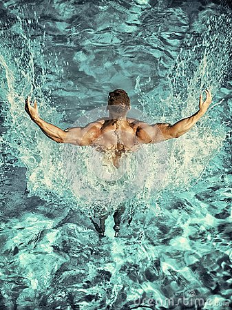 Free Swimmer Man Swim In Blue Water Pool Stock Image - 116129871