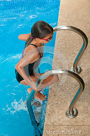 swimmer young girl climbing out of swimming pool royalty free stock images image 29130389