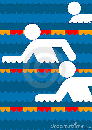 Swimmers in a pool graphic