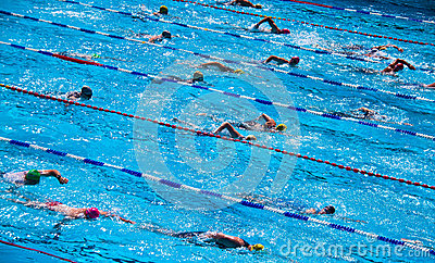 Swimmers during triathlon Editorial Photo