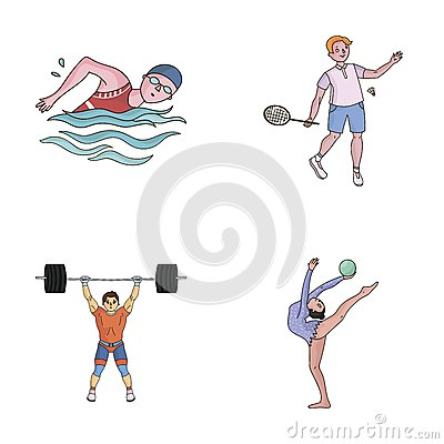 Free Swimming, Badminton, Weightlifting, Artistic Gymnastics. Olympic Sport Set Collection Icons In Cartoon Style Vector Royalty Free Stock Image - 93462266
