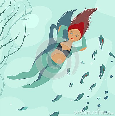 Swimming  Beautiful Woman in Sea and Fish