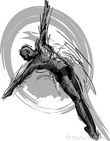 Swimming Diving Sketch Vector Silhouette