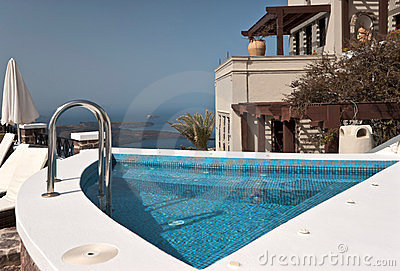 Swimming pool above Santorini Caldera