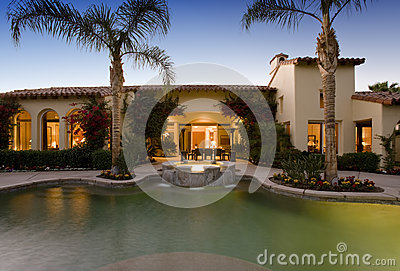 Swimming Pool Against Modern House