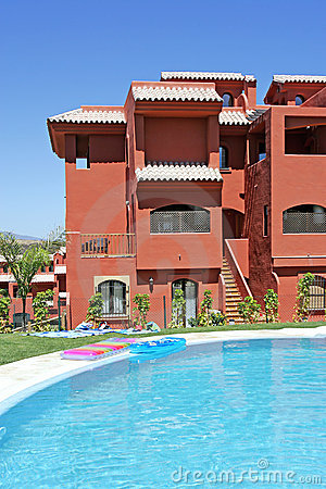 Swimming pool and apartment block on spanish vacation urbanisation stock photography image 225122 for How to say swimming pool in spanish