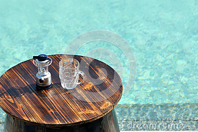 Swimming pool and beer opener and cup