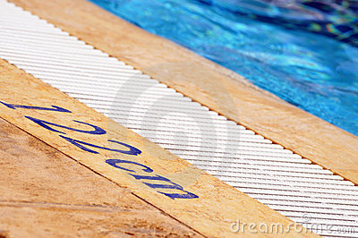 Swimming pool depth sign