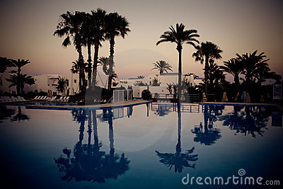 Swimming pool at evening