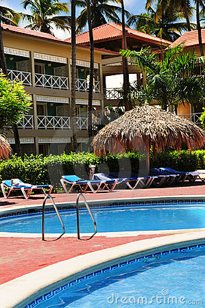 Free Swimming Pool Hotel At Tropical Resort Stock Images - 4839194