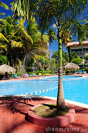 Swimming pool hotel at tropical resort