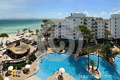 Alcudia, Majorca, Spain - September 4, 2013: Swimming pool of the ...