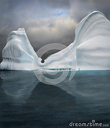 Swimming pool in iceberg Stock Photo