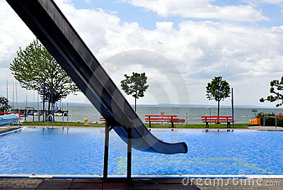 Swimming pool by lake