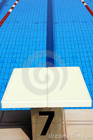 Swimming pool launch pad & water