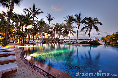 Swimming pool at Le Touessrock, Mauritius Editorial Image