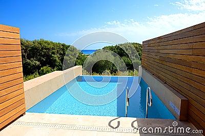 Swimming pool by luxury sea view villa