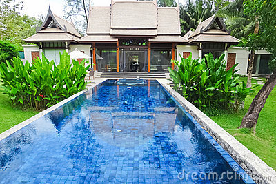 Swimming pool at luxury traditional villa