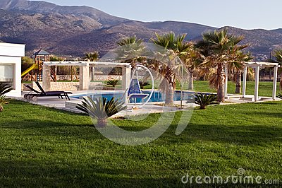 Swimming pool at the luxury villa, Crete, Greece .