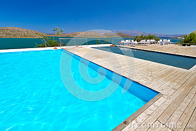 Swimming pool with Mirabello Bay view