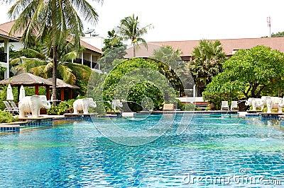 Swimming pool at modern luxury hotel