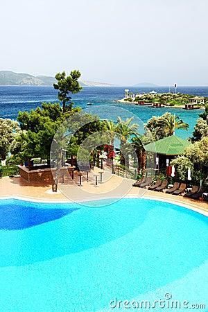 Swimming pool near beach at Turkish resort