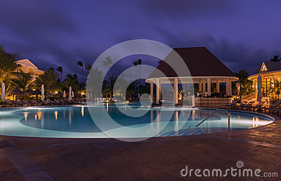 Swimming pool in night at a local resort