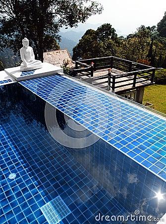 Swimming pool with oriental buddha statue