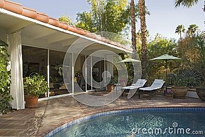 Swimming Pool Outside Modern Home