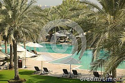 Swimming pool recreation area of luxury hotel