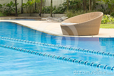 Swimming pool with round chair