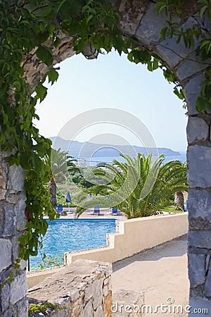 Swimming pool seen through arc
