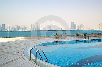Swimming pool with Sharjah fountain view