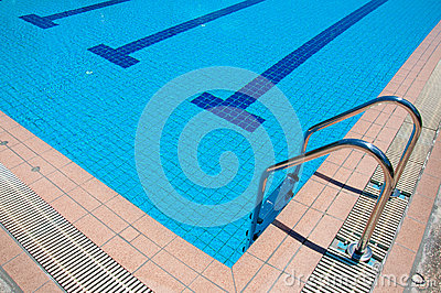 Swimming pool with stair at sport center