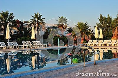 Swimming pool at sunrise