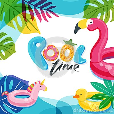 Free Swimming Pool Time. Flamingo, Duck And Unicorn Float Kids Toys. Beach Party Vector Poster, Flyer, Banner Design Template Stock Image - 123414841