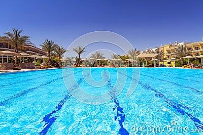Swimming pool at tropical resort in Hurghada