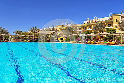 Swimming pool at tropical resort in Hurghada