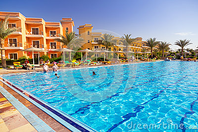 Swimming pool at tropical resort in Hurghada, Egypt Editorial Photography