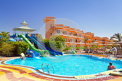 Swimming pool at tropical resort in Hurghada, Egypt Editorial Stock Photo